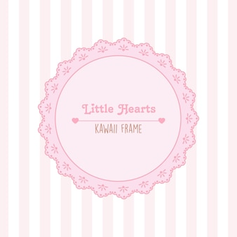 Corações e moldura de renda com padrão sem emenda de listras rosa e brancas