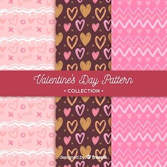Corações e padrões de dia dos namorados em ziguezague