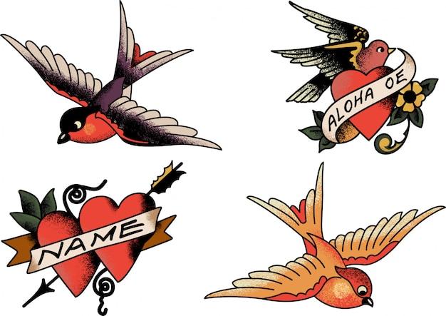 Corações e pássaros de sailor jerry
