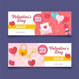 Corações em banners de venda de dia dos namorados envelope