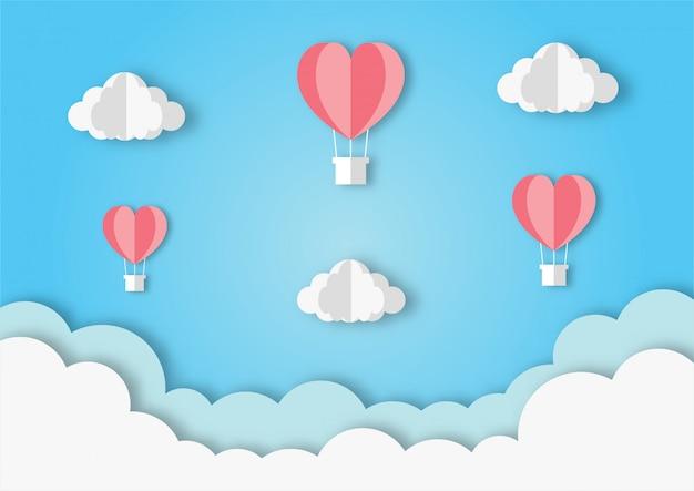 Corações em forma de balões voando fundo de estilo de arte de papel.