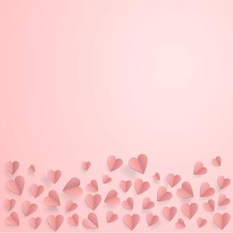 Corações em fundo abstrato amor com corações de corte de papel