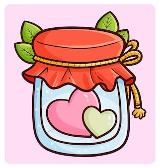 Corações engraçados e fofos em uma jarra de vidro fechada no estilo kawaii doodle