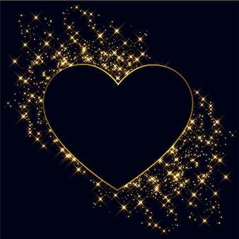Corações feitas com fundo dourado brilhos