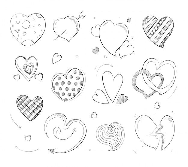 Corações fofos doodle
