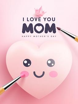 Corações fofos e desenho de emoticon em rosa