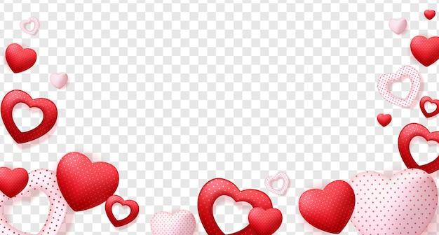 Corações isolados em um fundo transparente, decorações para o dia dos namorados.