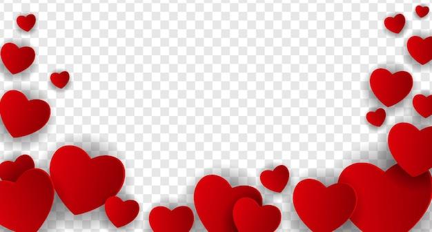 Corações isolados em um fundo transparente, decorações para o dia dos namorados