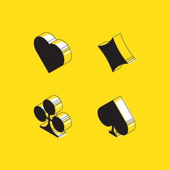 Corações isométricos, telhas, trevos e lanças baralho sinais em amarelo