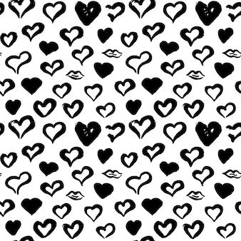 Corações mão desenhada padrão sem emenda. ilustração em vetor de fundo tileable do grunge.