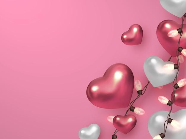 Corações metálicos com guirlandas elétricas em fundo rosa pastel.