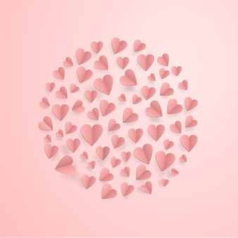 Corações no amor abstrato com corações de corte de papel