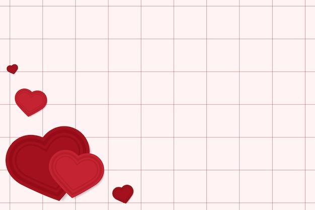 Corações no fundo da grade vermelha