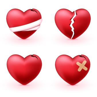 Corações partidos com ícones 3d realistas