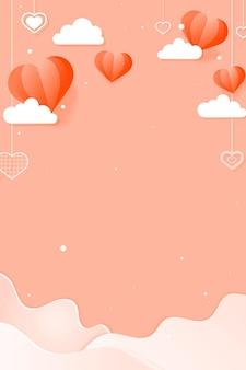Corações pendurados nuvem onda fundo pêssego