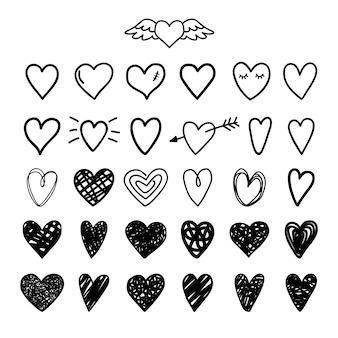 Corações pintados desenhados à mão