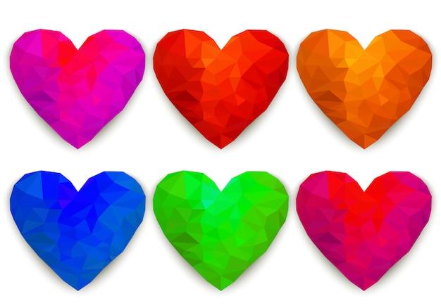 Corações poligonais,