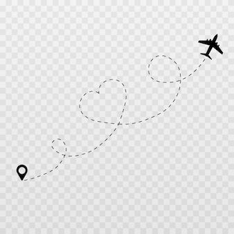 Corações pontilhados. viagem de lua de mel, lua de mel, trilhas pontilhadas de avião.
