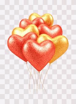 Corações realistas de balões 3d vermelhos e dourados brilhantes com textura glitter isolada em transparente