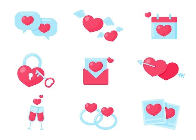 Corações rosa com asas e um calendário de memórias significativas de um casal do dia dos namorados.