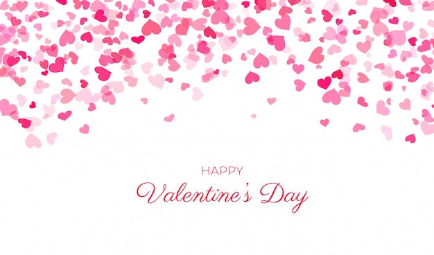 Corações rosa confetes em branco