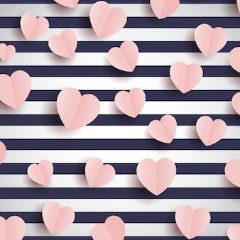 Corações rosa em um fundo listrado