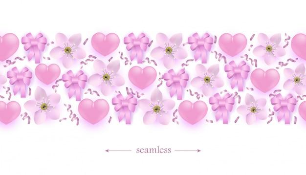 Corações rosa, flores e laços de fita