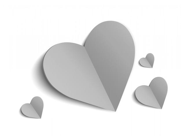 Corações são brancos. lindas corações brilhantes sobre um fundo transparente.