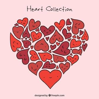 Corações tirados mão agradáveis
