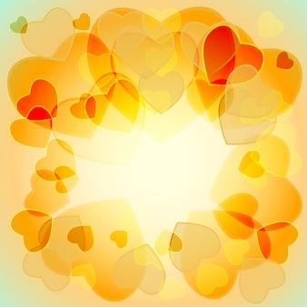 Corações translúcidas multicoloridas