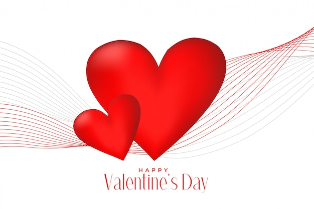 Corações vermelhos 3d com fundo de dia dos namorados de onda de linha