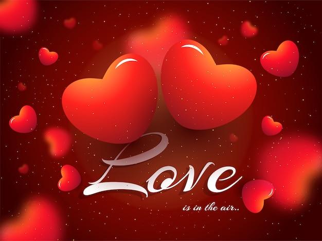 Corações vermelhos brilhantes decorados fundo desfocado