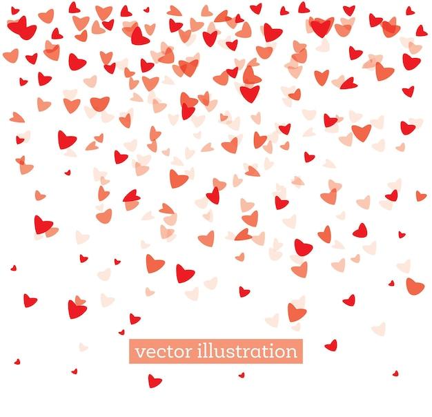Corações vermelhos caindo sobre fundo branco. plano de fundo dia dos namorados. ilustração vetorial.