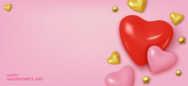 Corações vermelhos e dourados realistas para o fundo