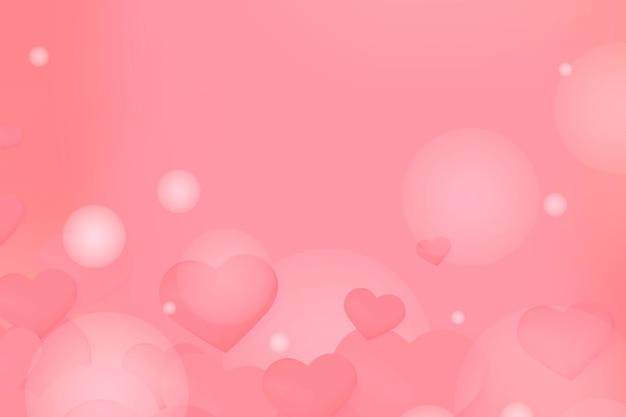 Corações vermelhos e fundo de bolhas