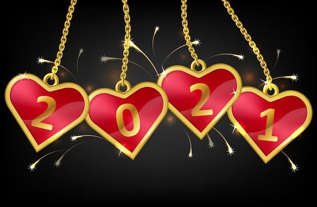 Corações vermelhos em cadeia com o número 2021