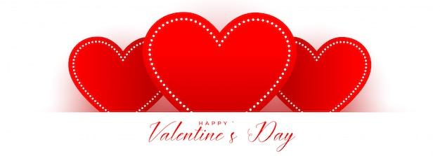 Corações vermelhos para cartão de dia dos namorados
