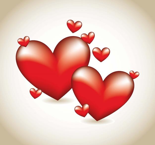 Corações vermelhos sobre ilustração vetorial de fundo marrom