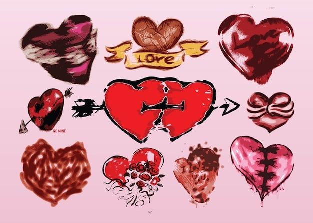 Corações vetores grunge
