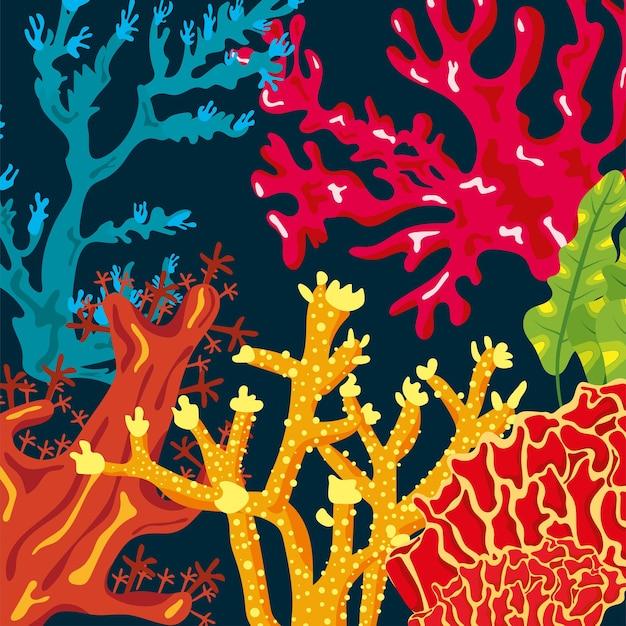 Corais coloridos vida marinha natureza sem costura padrão