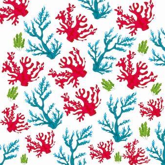Corais marinhos natureza sem costura padrão em branco