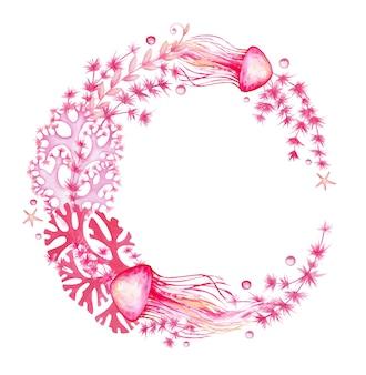 Corais, medusas, conchas, estrelas do mar. moldura em aquarela