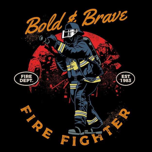 Corajoso e corajoso bombeiro em serviço