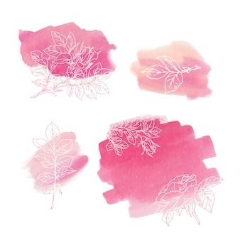 Coral abstrato das rosas do fundo da aquarela. elemento de aquarela para cartão.