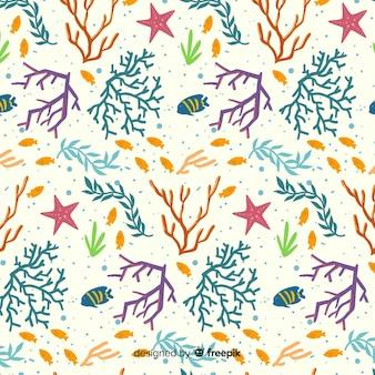 Coral colorido liso e pacote de padrão de peixes