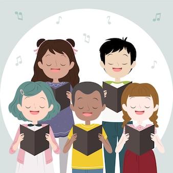 Coral de crianças cantando juntos