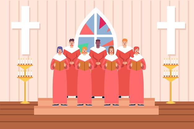 Coral gospel em igreja