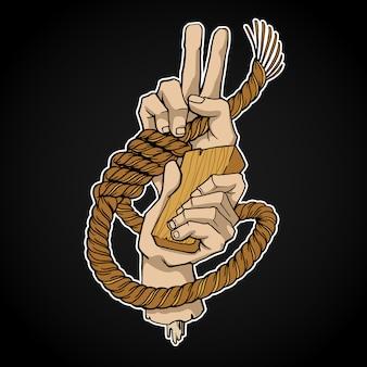 Corda e mãos