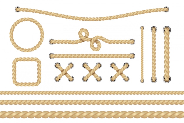Corda náutica. quadros de corda redonda e quadrada, bordas de cordão.