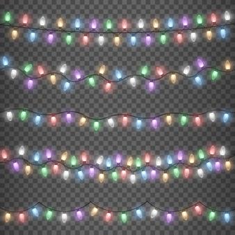 Cordão de guirlandas de natal coloridas brilhantes